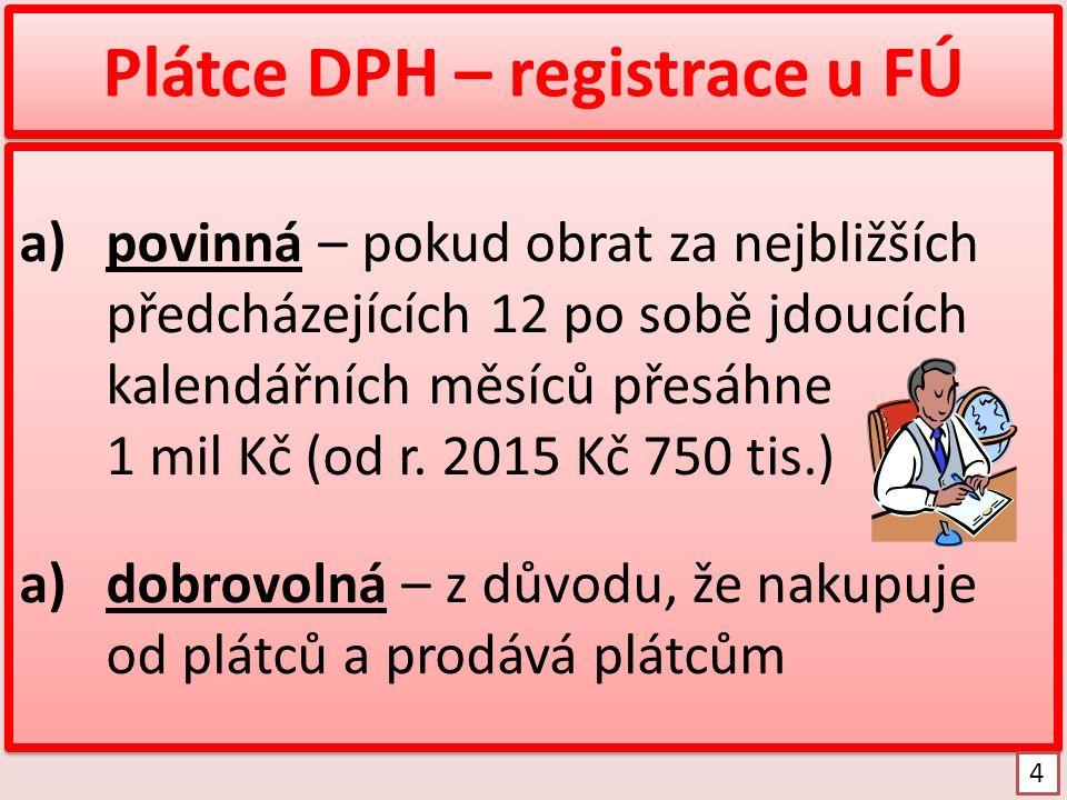 Plátce DPH – registrace u FÚ