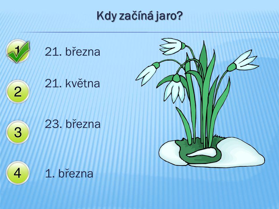 Kdy začíná jaro 21. března 21. května 23. března 1. března
