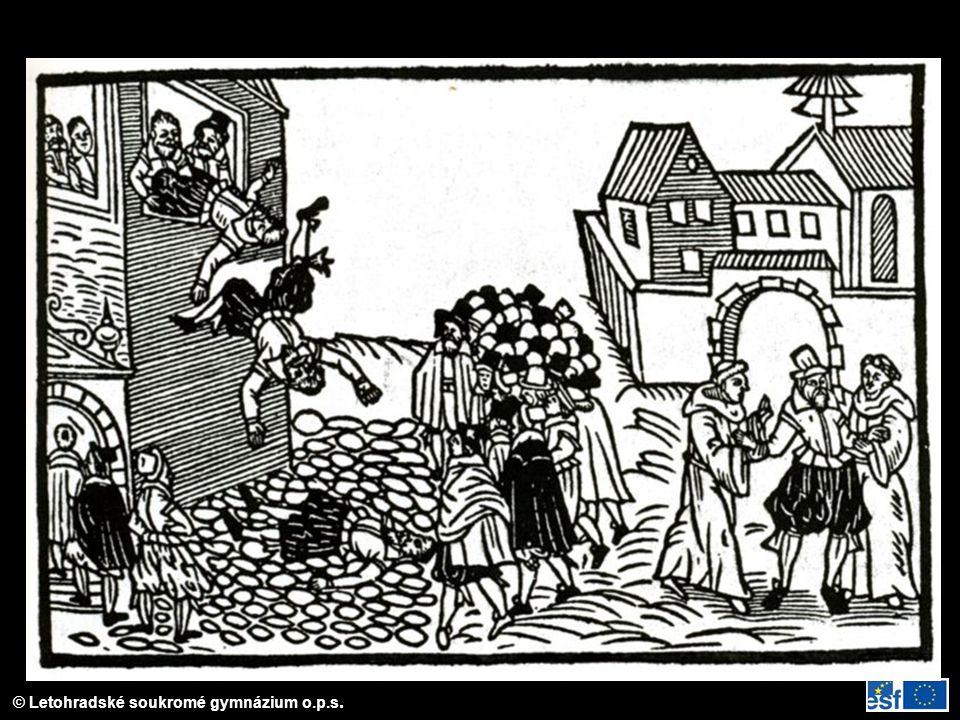 Vyobrazení defenestrace na dobovém letáku