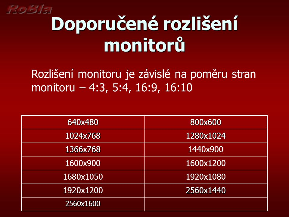 Doporučené rozlišení monitorů