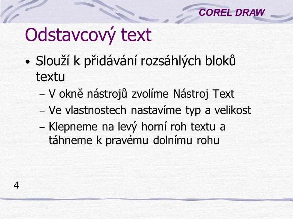 Odstavcový text Slouží k přidávání rozsáhlých bloků textu