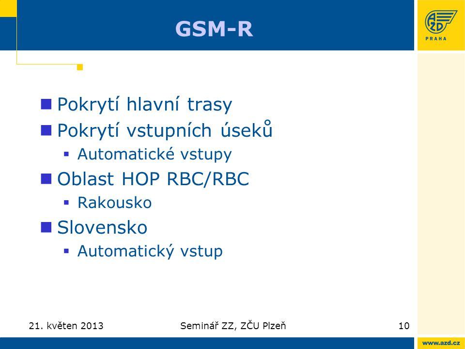 GSM-R Pokrytí hlavní trasy Pokrytí vstupních úseků Oblast HOP RBC/RBC