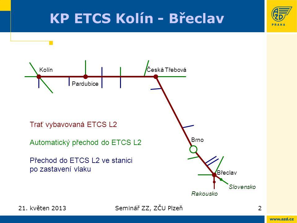 KP ETCS Kolín - Břeclav Trať vybavovaná ETCS L2