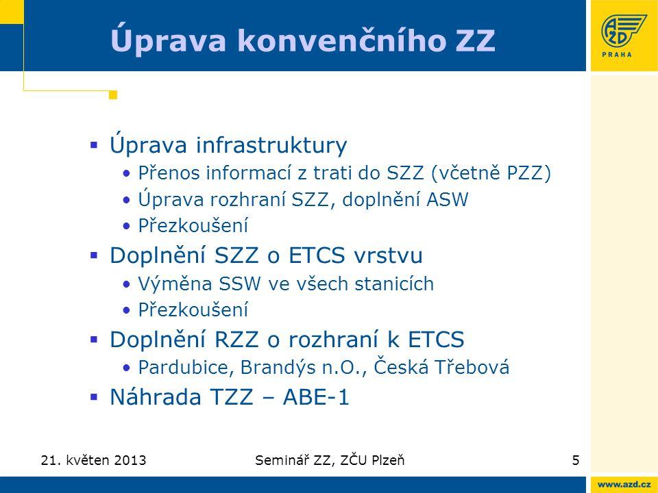 Úprava konvenčního ZZ Úprava infrastruktury Doplnění SZZ o ETCS vrstvu