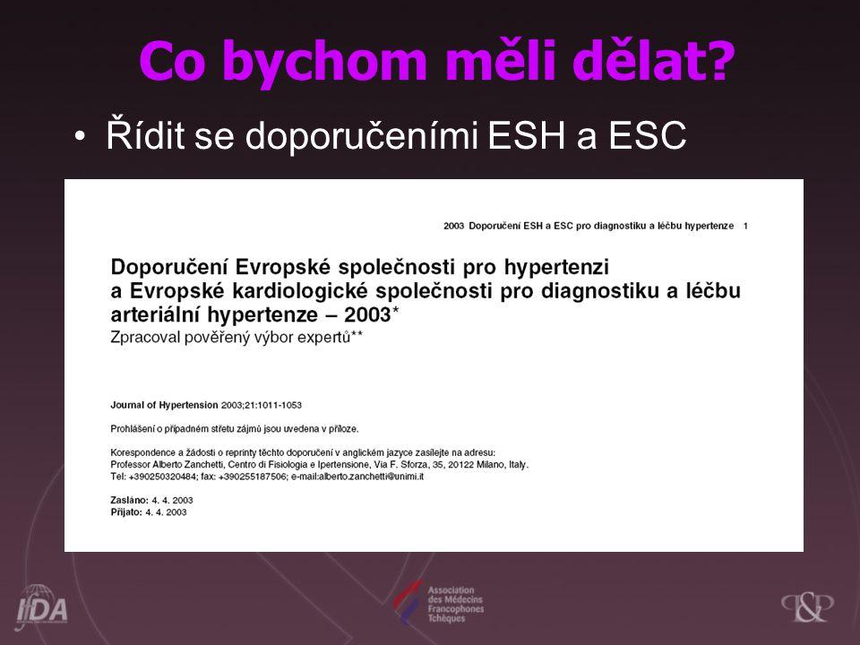 Co bychom měli dělat Řídit se doporučeními ESH a ESC