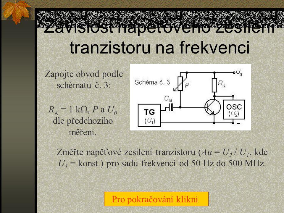 Závislost napěťového zesílení tranzistoru na frekvenci