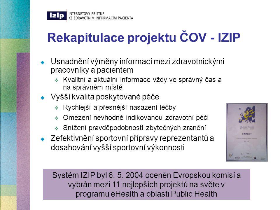 Rekapitulace projektu ČOV - IZIP