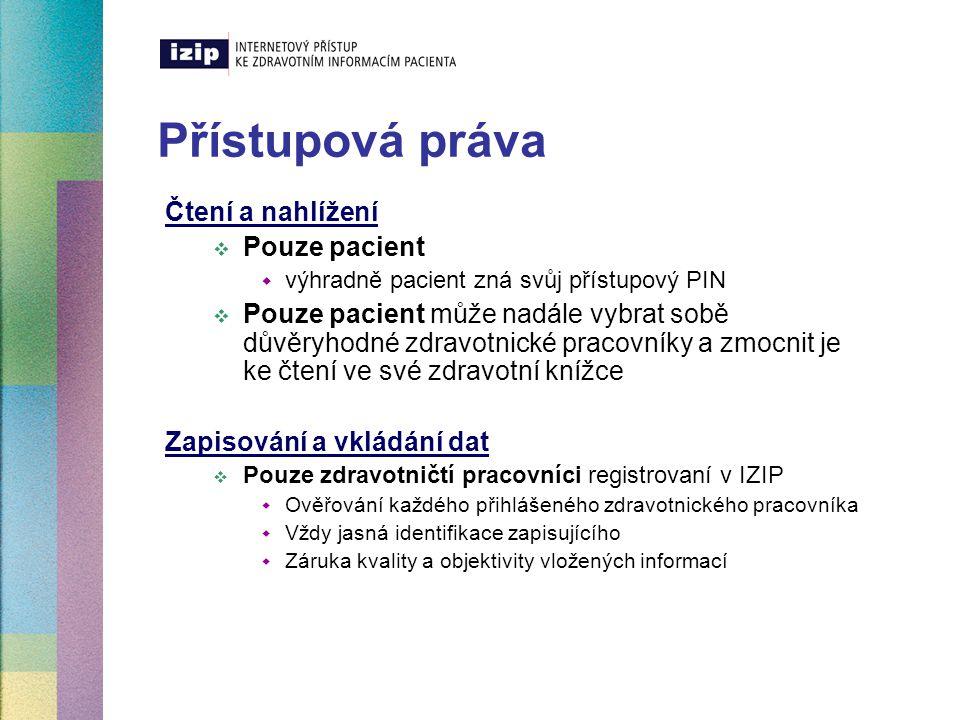 Přístupová práva Čtení a nahlížení Pouze pacient