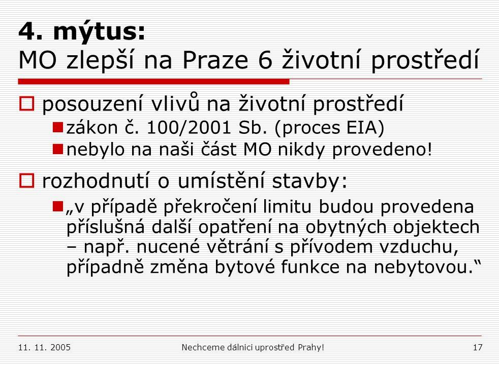 4. mýtus: MO zlepší na Praze 6 životní prostředí