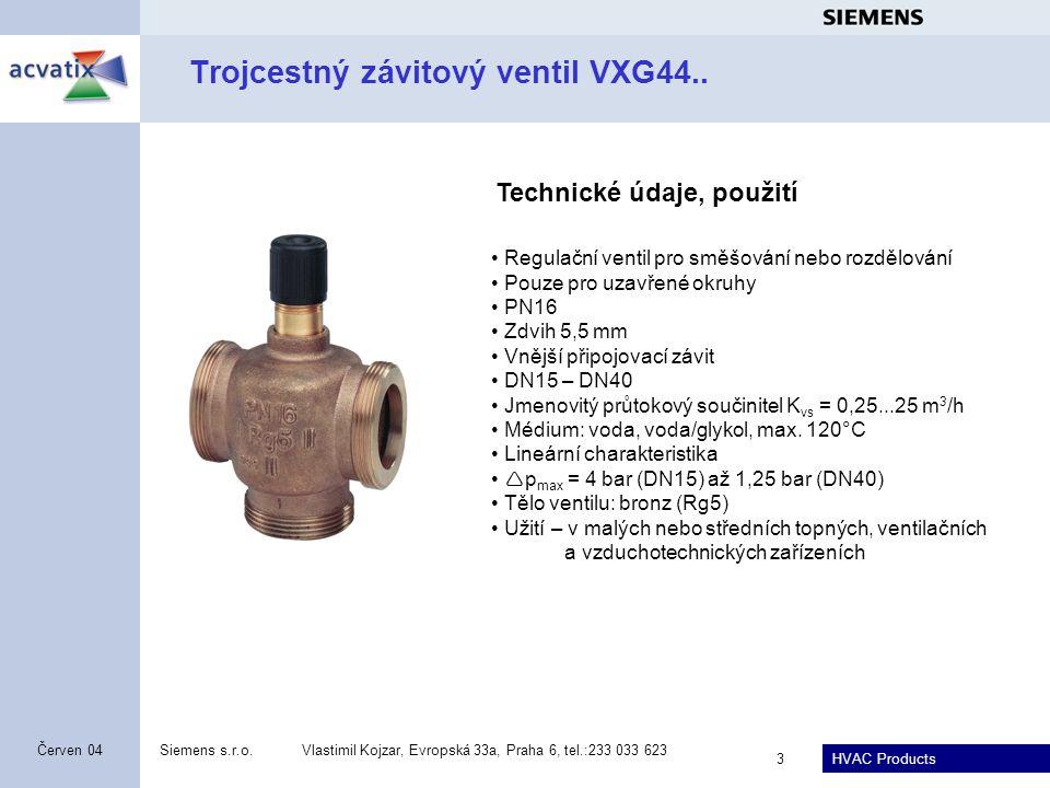 Trojcestný závitový ventil VXG44..