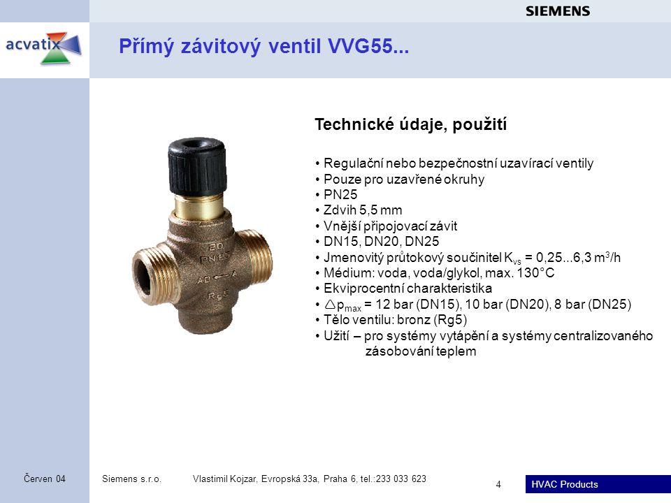 Přímý závitový ventil VVG55...