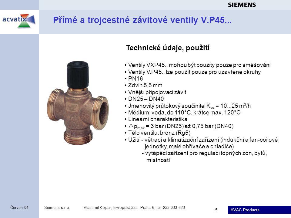 Přímé a trojcestné závitové ventily V.P45...