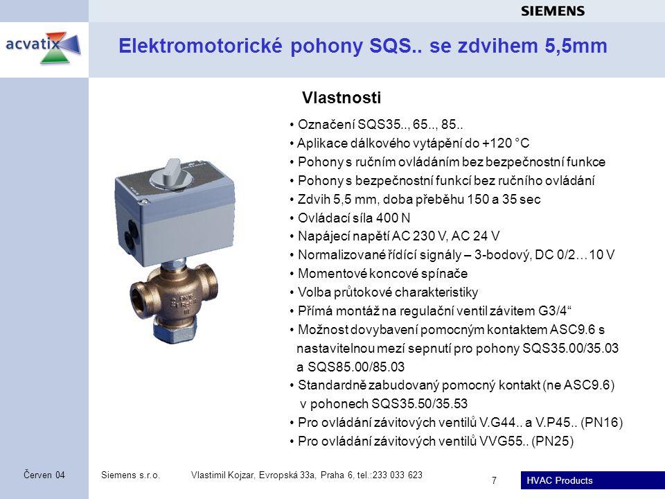 Elektromotorické pohony SQS.. se zdvihem 5,5mm