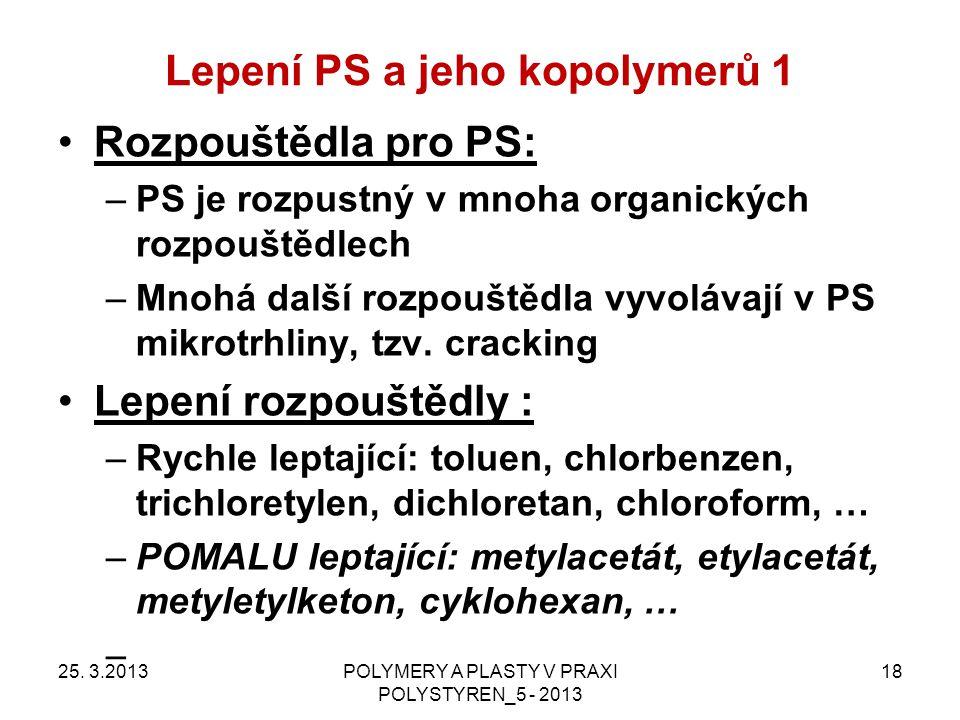 Lepení PS a jeho kopolymerů 1