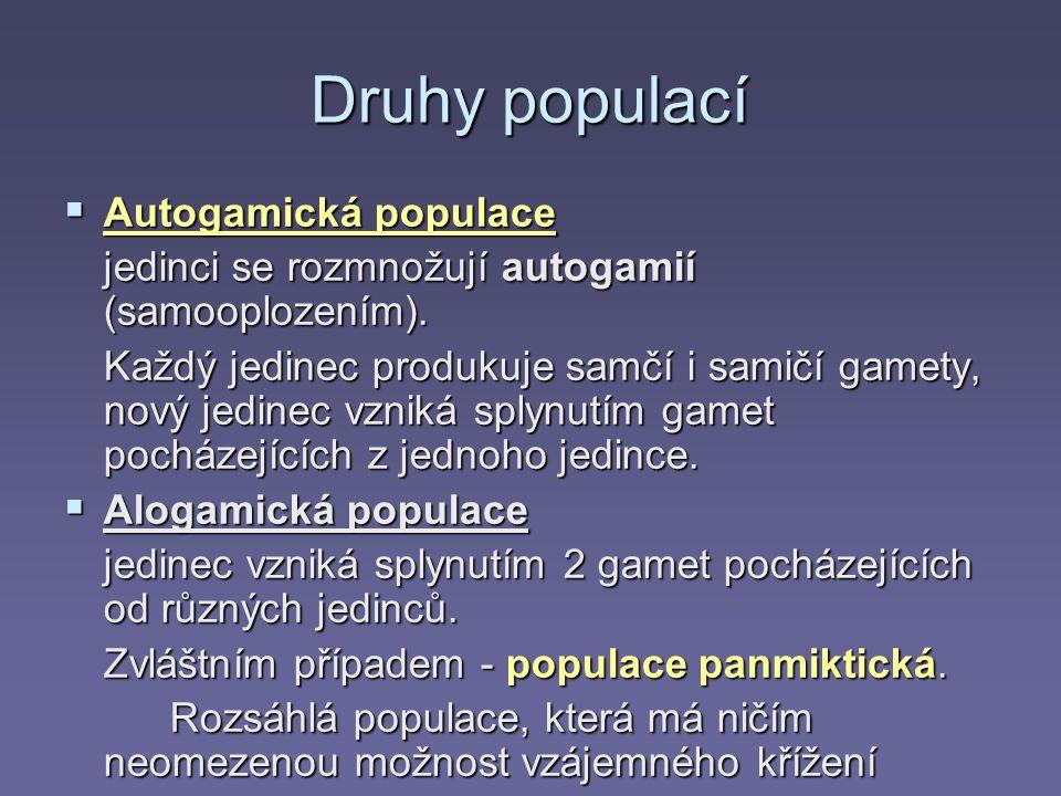 Druhy populací Autogamická populace