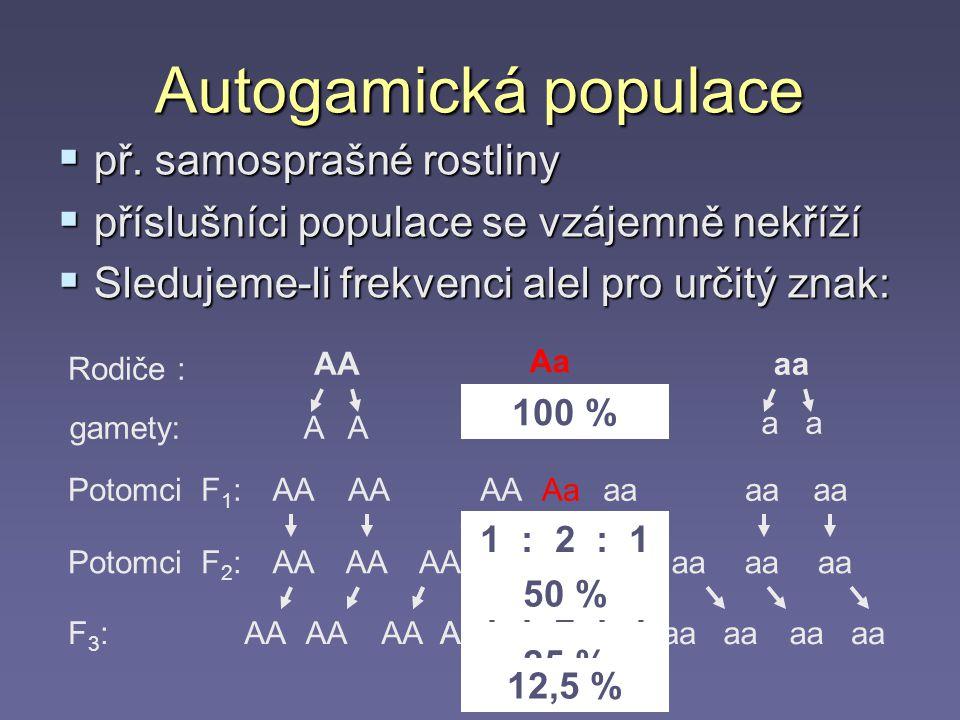 Autogamická populace př. samosprašné rostliny
