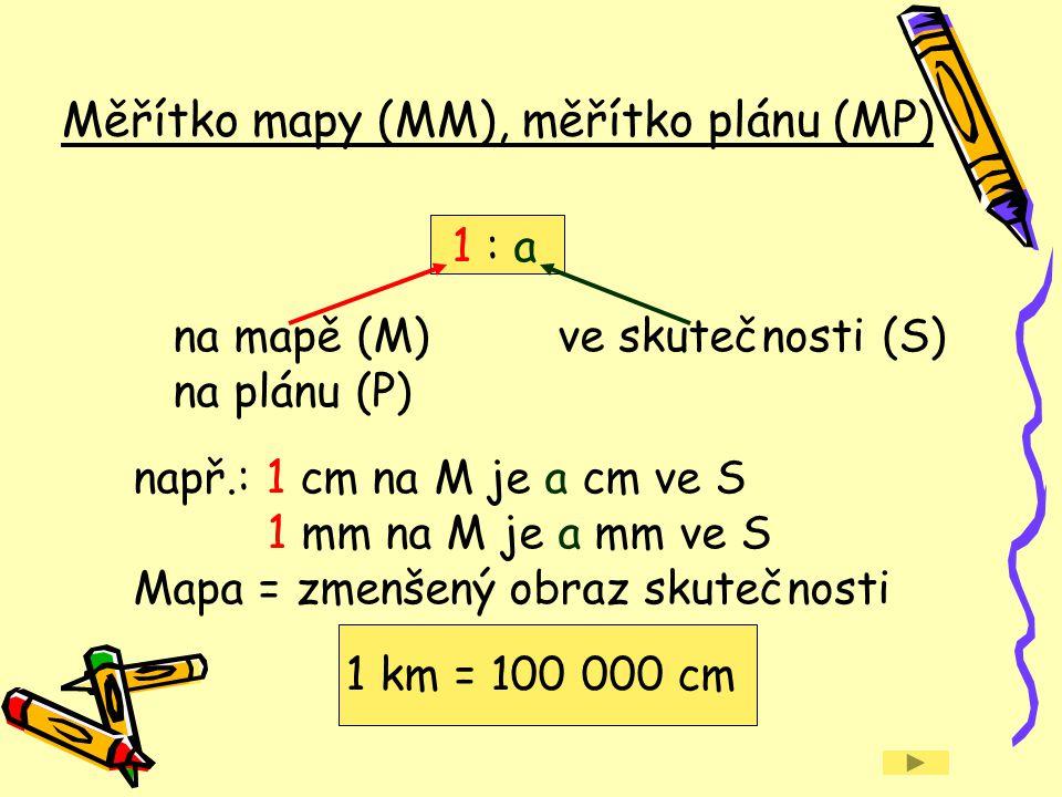 Měřítko mapy (MM), měřítko plánu (MP)