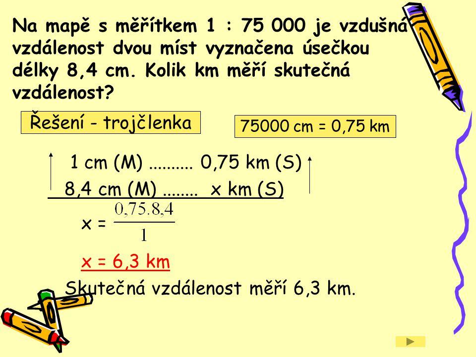 Skutečná vzdálenost měří 6,3 km.