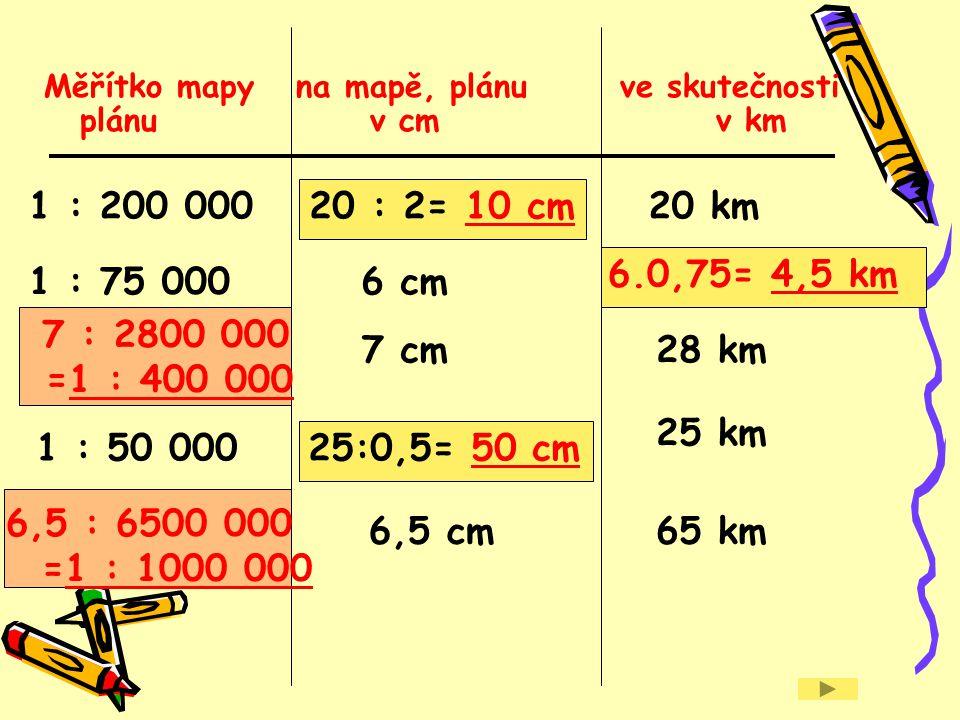 Měřítko mapy na mapě, plánu ve skutečnosti plánu v cm v km
