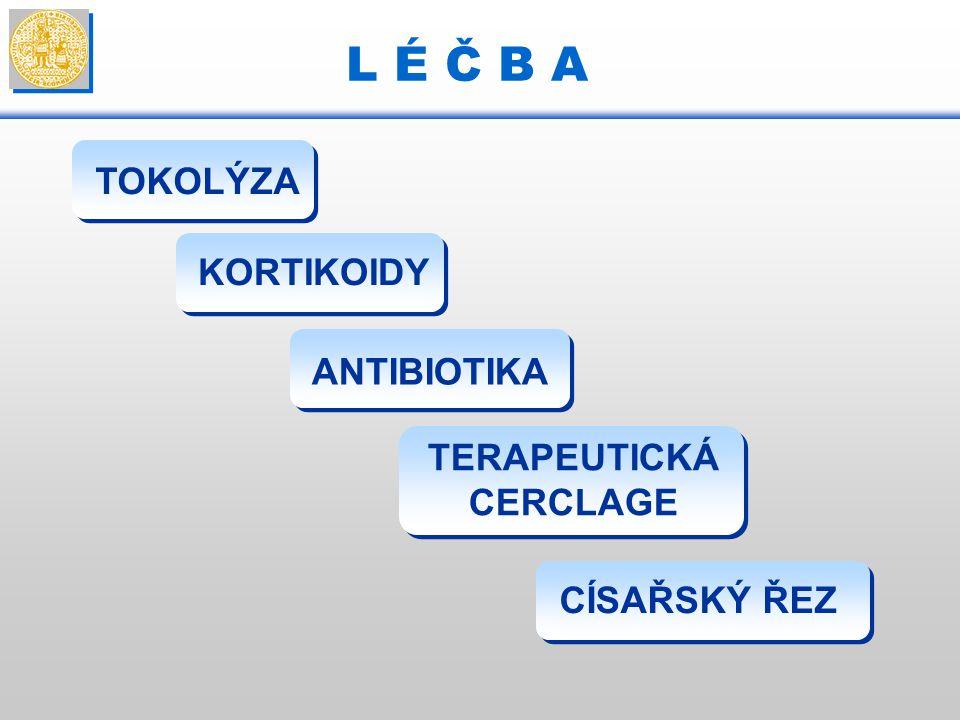 L É Č B A TOKOLÝZA KORTIKOIDY ANTIBIOTIKA TERAPEUTICKÁ CERCLAGE