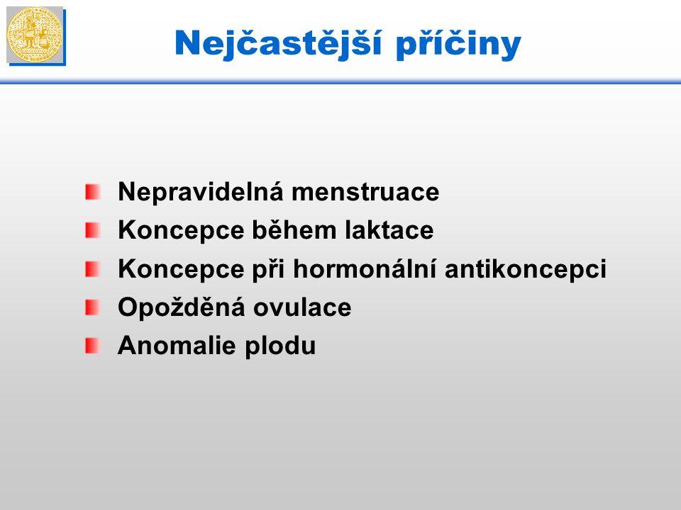 Nejčastější příčiny Nepravidelná menstruace Koncepce během laktace