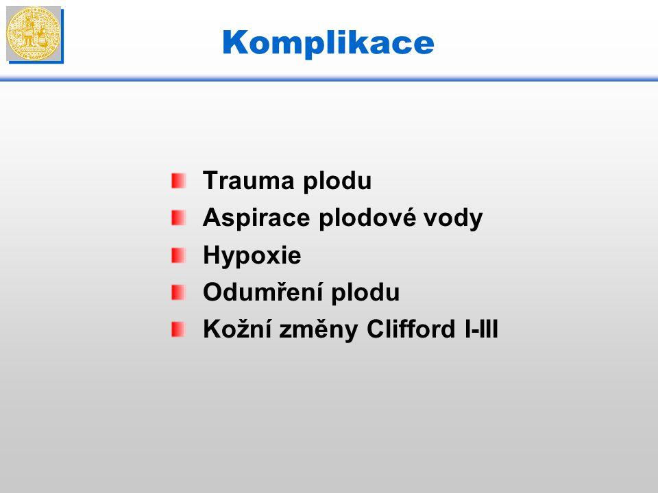 Komplikace Trauma plodu Aspirace plodové vody Hypoxie Odumření plodu