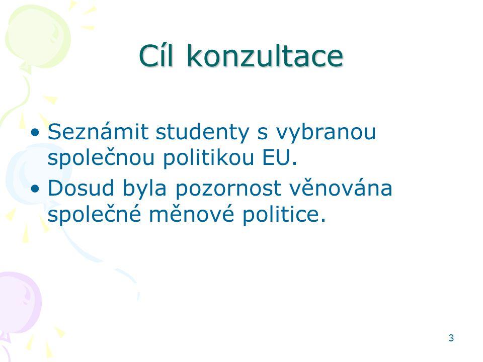 Cíl konzultace Seznámit studenty s vybranou společnou politikou EU.