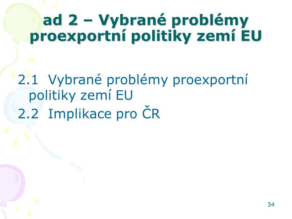 ad 2 – Vybrané problémy proexportní politiky zemí EU