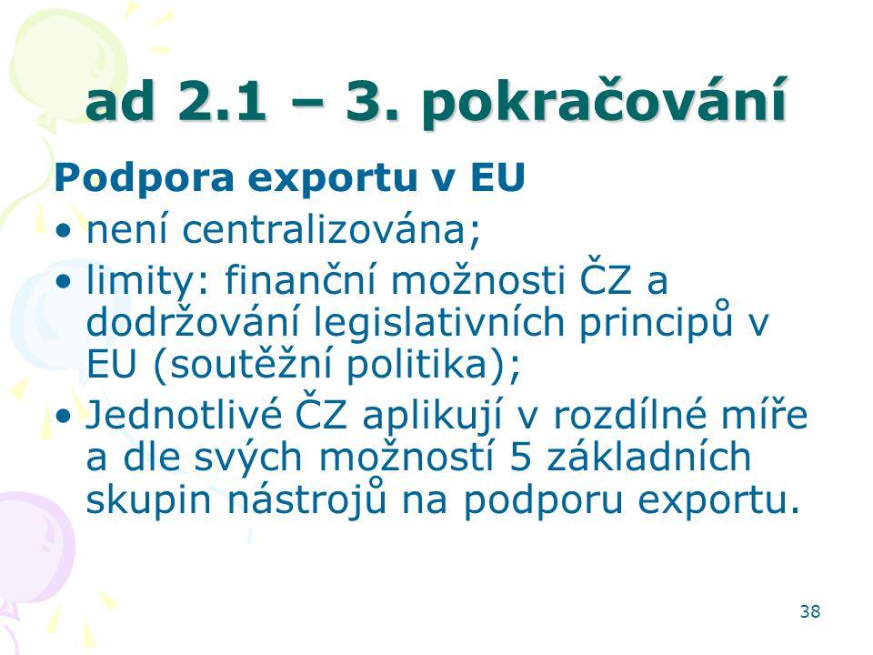 ad 2.1 – 3. pokračování Podpora exportu v EU není centralizována;
