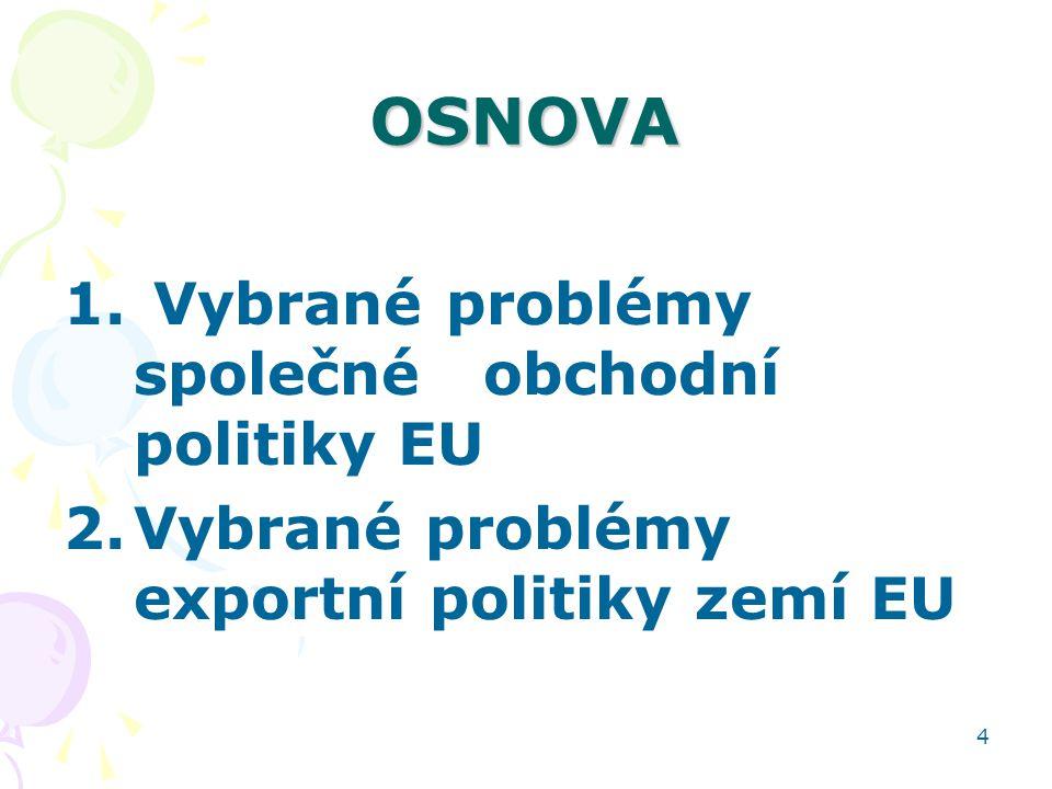 OSNOVA Vybrané problémy společné obchodní politiky EU