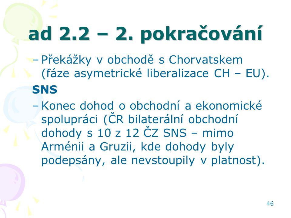 ad 2.2 – 2. pokračování Překážky v obchodě s Chorvatskem (fáze asymetrické liberalizace CH – EU). SNS.