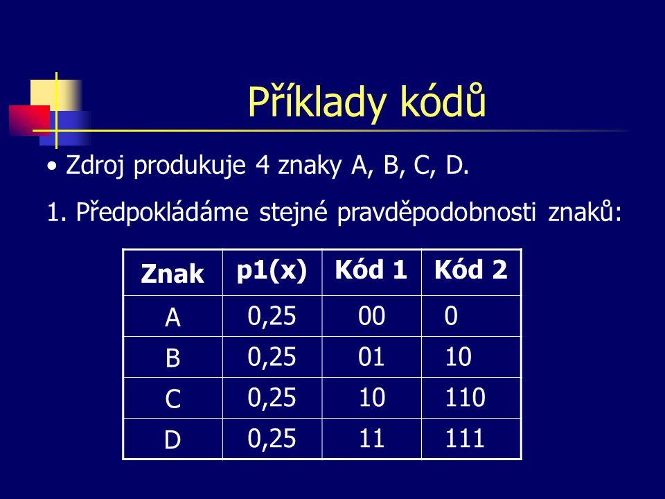 Příklady kódů Zdroj produkuje 4 znaky A, B, C, D.