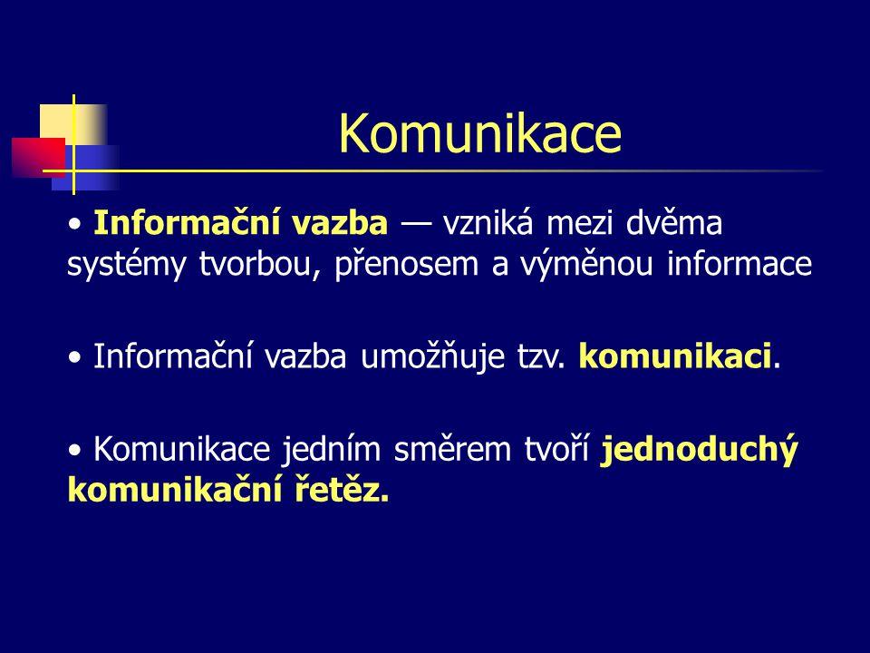Komunikace Informační vazba — vzniká mezi dvěma systémy tvorbou, přenosem a výměnou informace. Informační vazba umožňuje tzv. komunikaci.