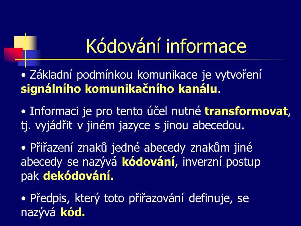 Kódování informace Základní podmínkou komunikace je vytvoření signálního komunikačního kanálu.