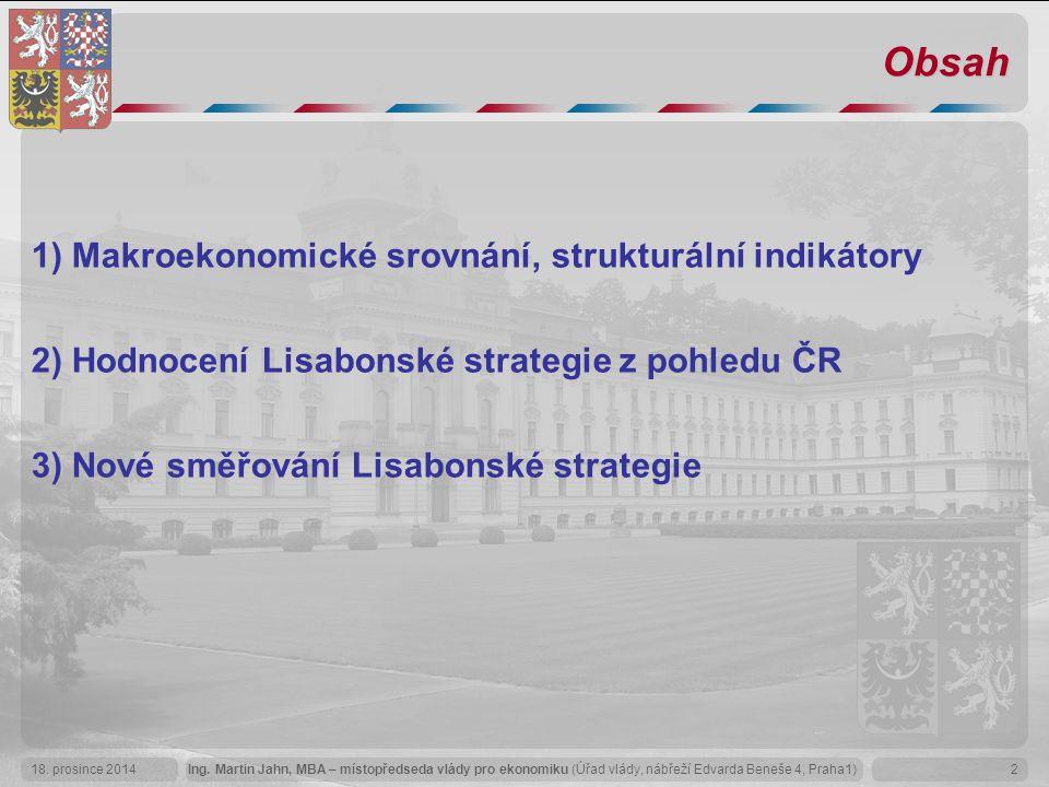 Obsah 1) Makroekonomické srovnání, strukturální indikátory