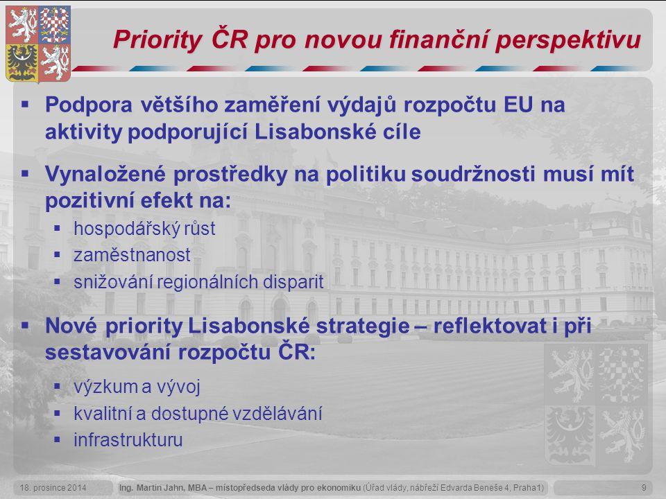 Priority ČR pro novou finanční perspektivu