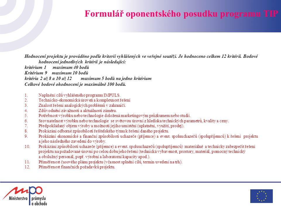 Formulář oponentského posudku programu TIP