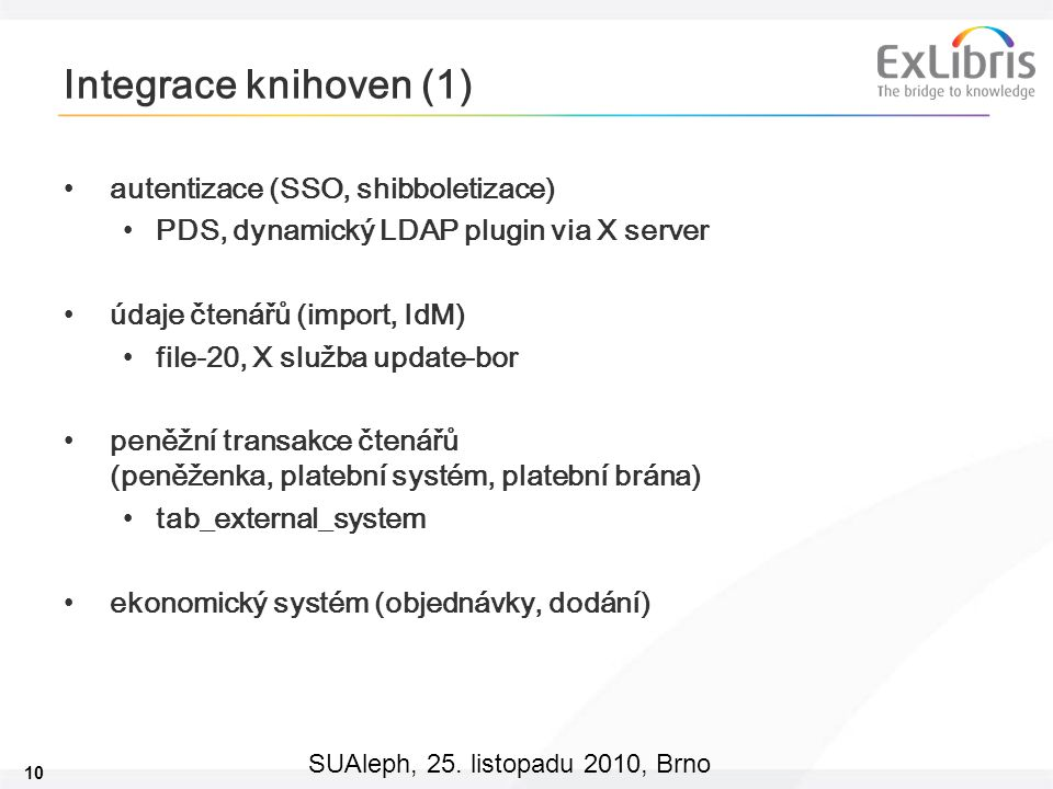 Integrace knihoven (1) autentizace (SSO, shibboletizace)