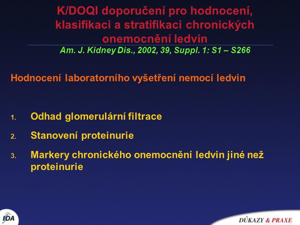 K/DOQI doporučení pro hodnocení, klasifikaci a stratifikaci chronických onemocnění ledvin Am. J. Kidney Dis., 2002, 39, Suppl. 1: S1 – S266