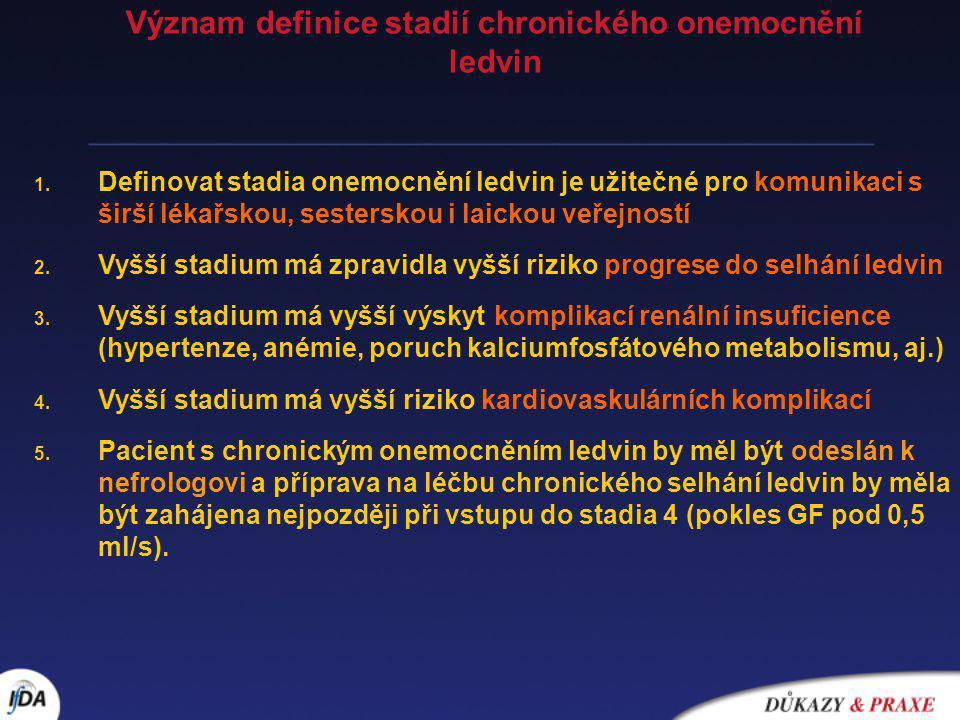 Význam definice stadií chronického onemocnění ledvin
