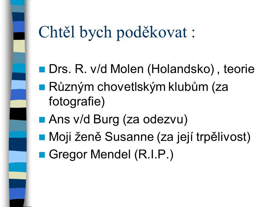 Chtěl bych poděkovat : Drs. R. v/d Molen (Holandsko) , teorie