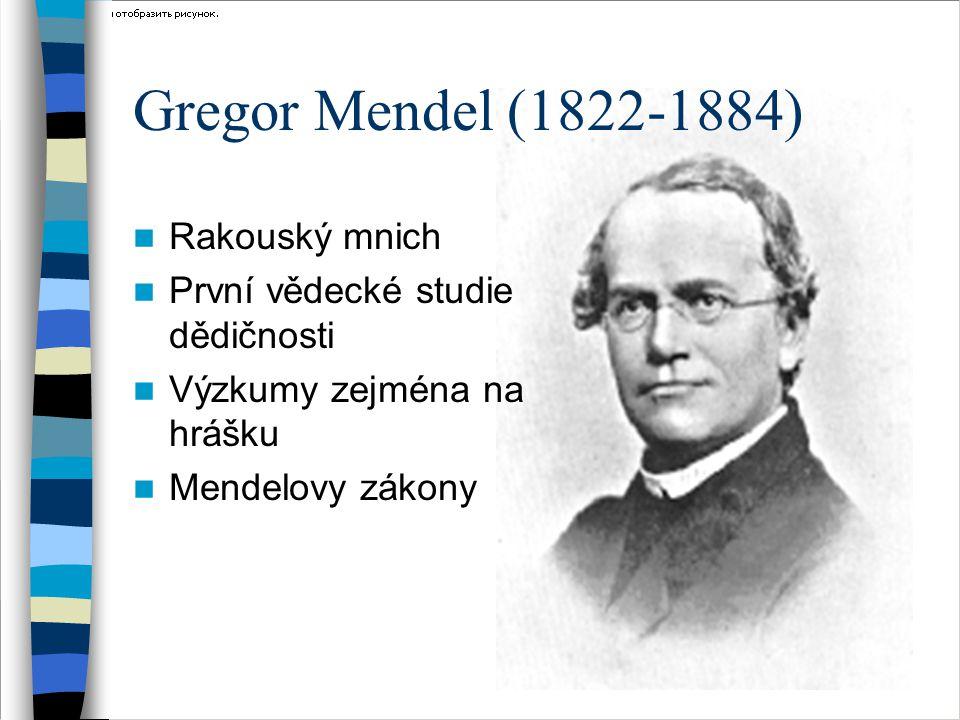 Gregor Mendel (1822-1884) Rakouský mnich