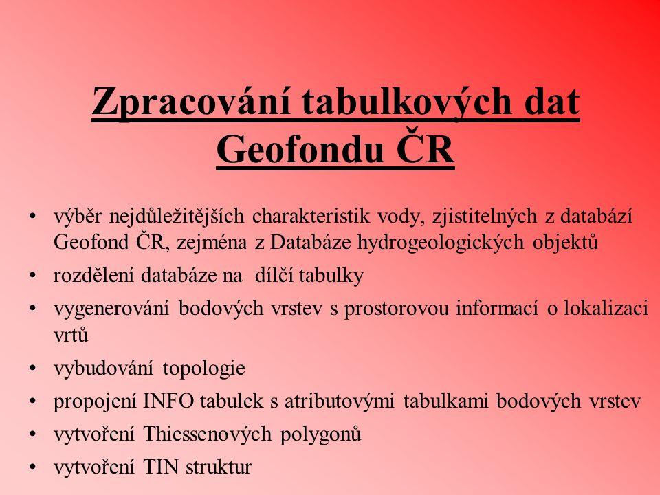 Zpracování tabulkových dat Geofondu ČR