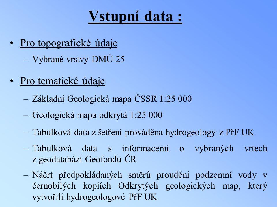 Vstupní data : Pro topografické údaje Pro tematické údaje