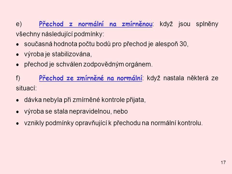 e) Přechod z normální na zmírněnou: když jsou splněny všechny následující podmínky: