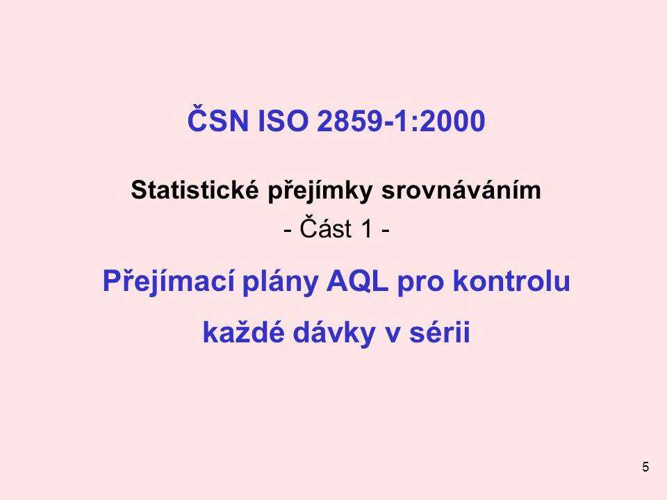 Statistické přejímky srovnáváním Přejímací plány AQL pro kontrolu