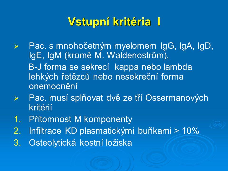 Vstupní kritéria I Pac. s mnohočetným myelomem IgG, IgA, IgD, IgE, IgM (kromě M. Waldenoström),