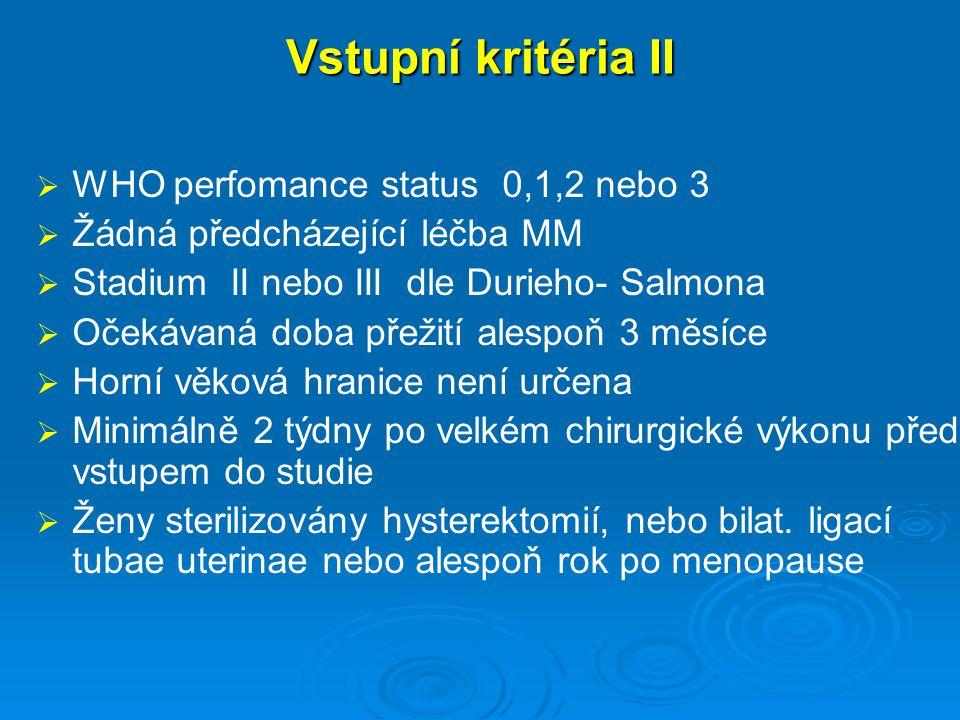 Vstupní kritéria II WHO perfomance status 0,1,2 nebo 3