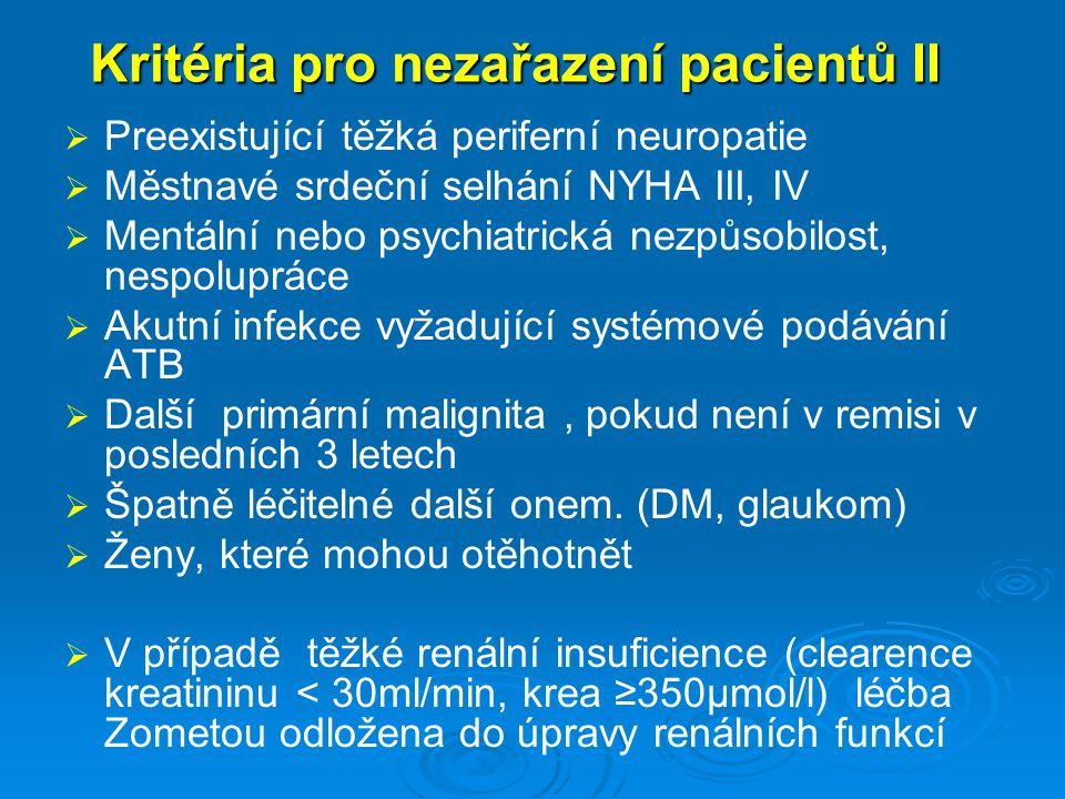 Kritéria pro nezařazení pacientů II