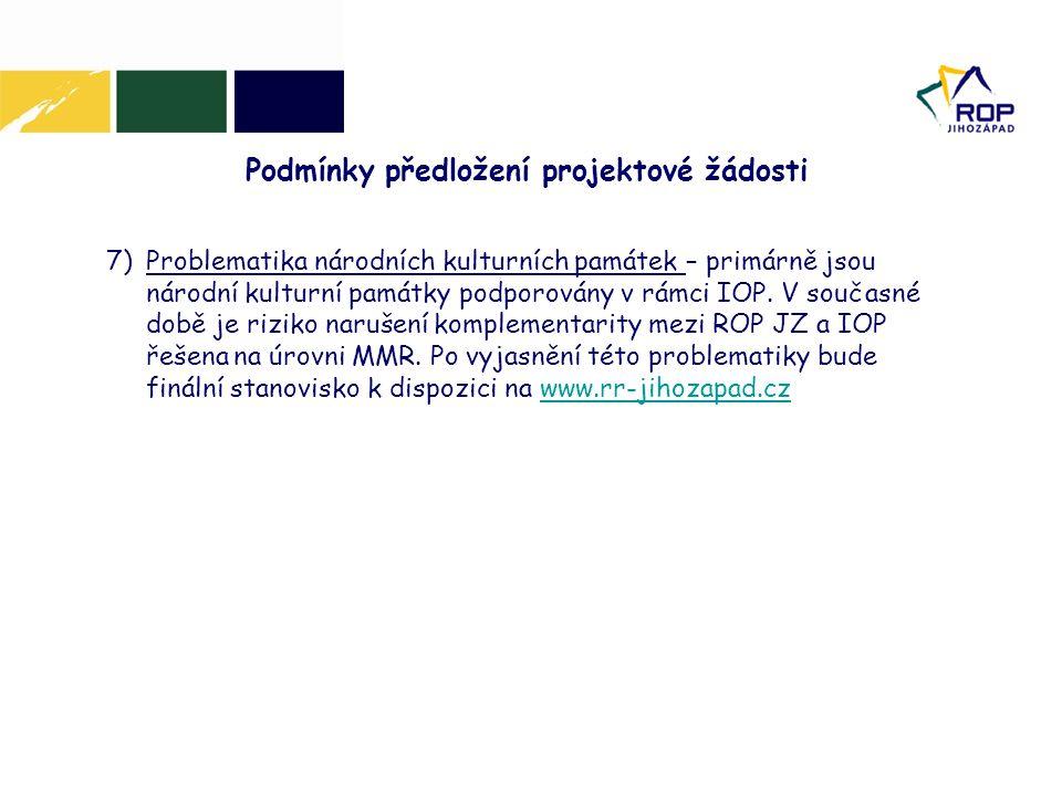 Podmínky předložení projektové žádosti